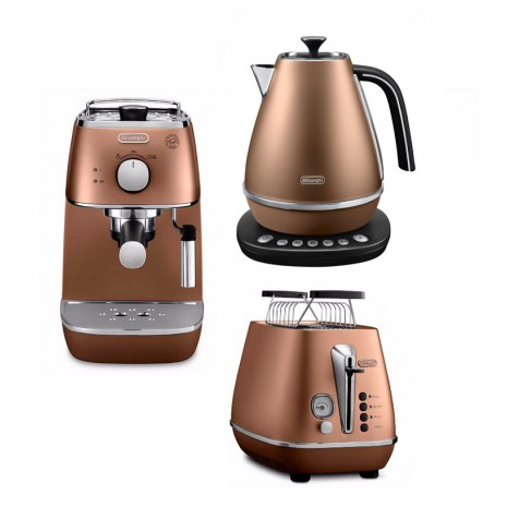 Комплект De`Longhi Distinta Copper (кофеварка + чайник с регулировкой температуры + тостер) и пачка кофе Blasercafe в подарок!