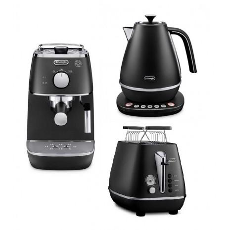 Комплект De`Longhi Distinta Black (кофеварка + чайник с регулировкой температуры + тостер) и пачка кофе Blasercafe в подарок!
