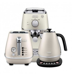 Комплект De`Longhi Distinta White (кофеварка + чайник с регулировкой температуры + тостер) и пачка кофе Blasercafe в подарок!