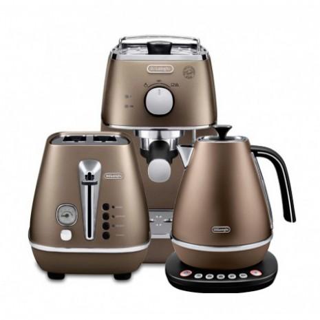 Комплект De`Longhi Distinta Bronze (кофеварка + чайник с регулировкой температуры + тостер) и пачка кофе Blasercafe в подарок!