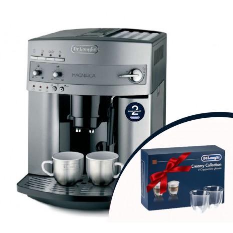 Кофемашина De`Longhi ESAM 3200.S + набор из 6-ти стаканов DeLonghi для капучино и пачка кофе Blasercafe!