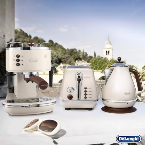 Комплект De`Longhi Icona Vintage Dolce Vita (кофеварка + чайник + тостер) и пачка кофе Blasercafe в подарок!