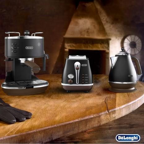 Комплект De`Longhi Icona Vintage Storica (кофеварка + чайник + тостер) и пачка кофе Blasercafe в подарок!