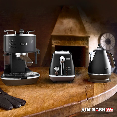 Комплект De`Longhi Icona Vintage Black (кофеварка + чайник + тостер)