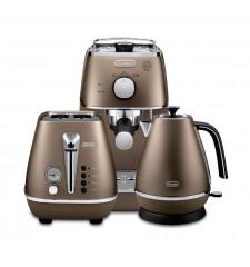 Комплект De`Longhi Distinta Bronze (кофеварка + чайник + тостер) и 3 пачки кофе Blasercafe в подарок!