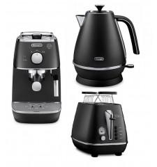 Комплект De`Longhi Distinta Black (кофеварка + чайник + тостер) и 3 пачки кофе Blasercafe в подарок!