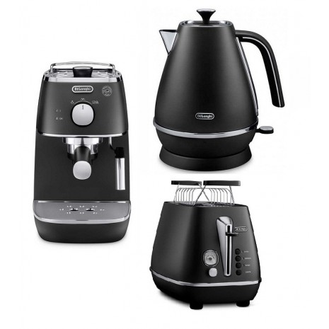 Комплект De`Longhi Distinta Black (кофеварка + чайник + тостер) и пачка кофе Blasercafe в подарок!