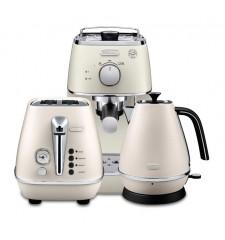 Комплект De`Longhi Distinta White (кофеварка + чайник + тостер) и 3 пачки кофе Blasercafe в подарок!