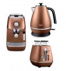 Комплект De`Longhi Distinta Copper (кофеварка + чайник + тостер) и 3 пачки кофе Blasercafe в подарок!