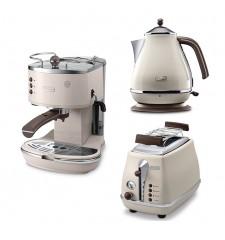 Комплект De`Longhi Icona Vintage Dolce Vita (кофеварка + чайник + тостер) и 3 пачки кофе Blasercafe в подарок!