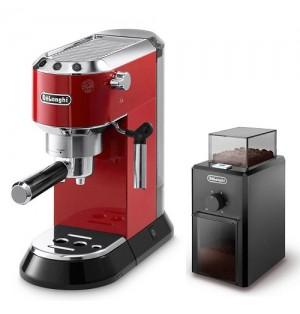 Кофеварка De`Longhi Dedica EC 680.R + кофемолка KG 79 в подарок