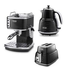 Комплект De`Longhi Scultura Black (кофеварка + чайник + тостер) и пачка кофе Blasercafe в подарок!