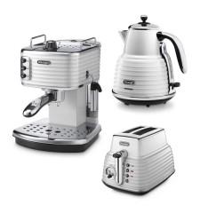Комплект De`Longhi Scultura White (кофеварка + чайник + тостер) и 3 пачки кофе Blasercafe в подарок